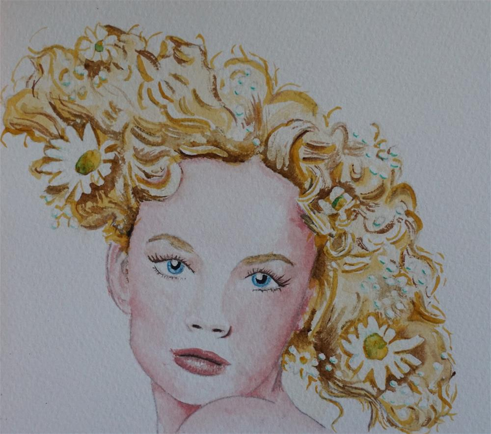 """Flowers in her hair"" original fine art by Gin Sen"