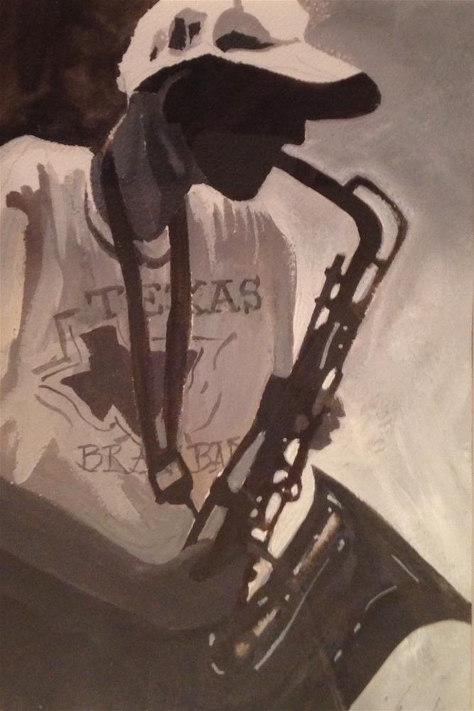 """Saxophone Player"" original fine art by Margie Whittington"