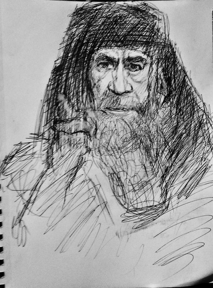 """""""Anthony Quinn playing the judging pharisee"""" original fine art by Fred Medley"""