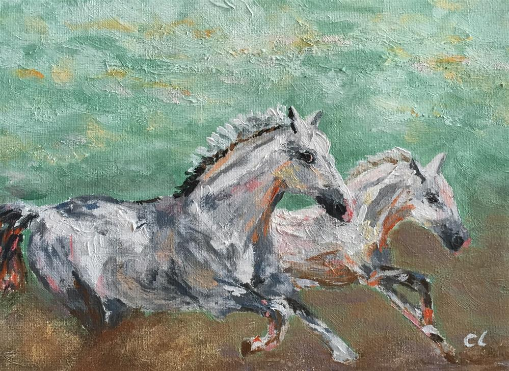 """Horsing Around"" original fine art by Cheree Apalona Lueck"