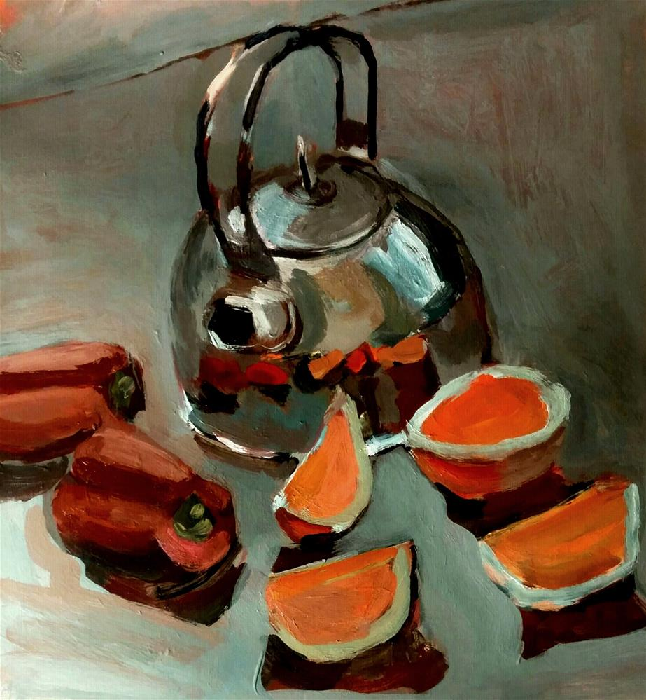 """Kettle With Peppers"" original fine art by Liz Maynes"