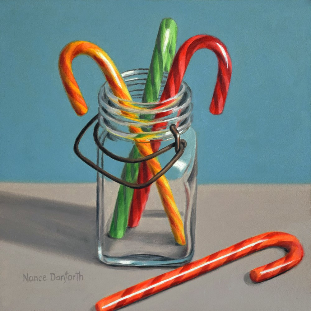 """Candy Canes in Canning Jar"" original fine art by Nance Danforth"