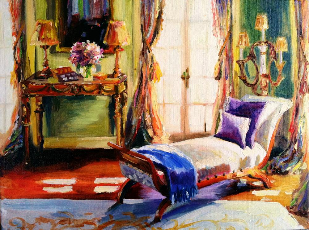 """FRENCH CHAISE"" original fine art by Cecilia Rosslee"