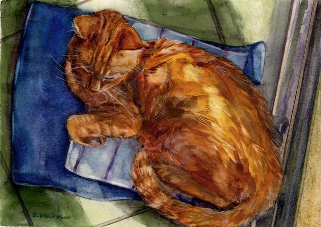 """Watercolor: Sunshine Snooze (sleeping cat)"" original fine art by Belinda Del Pesco"