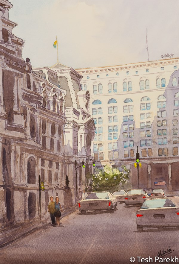 """City Hall Afternoon, Philadelphia"" original fine art by Tesh Parekh"