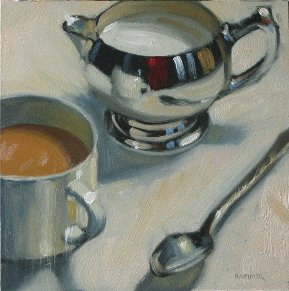 """Coffee with cream  6x6 oil"" original fine art by Claudia Hammer"