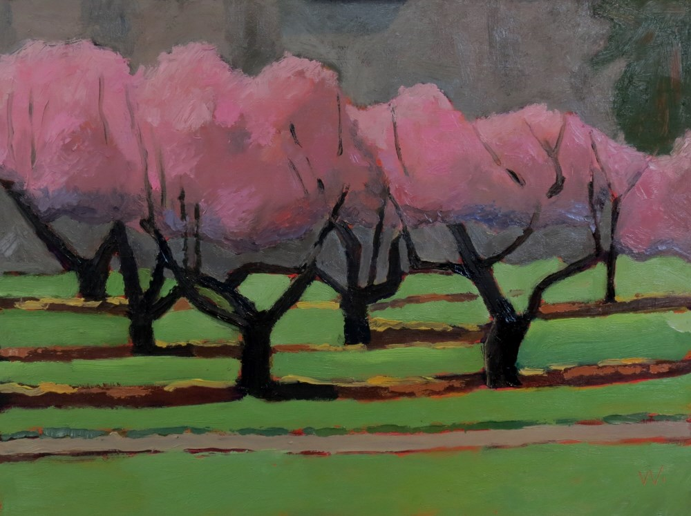 """Peach Tree Morning"" original fine art by Joan Wiberg"