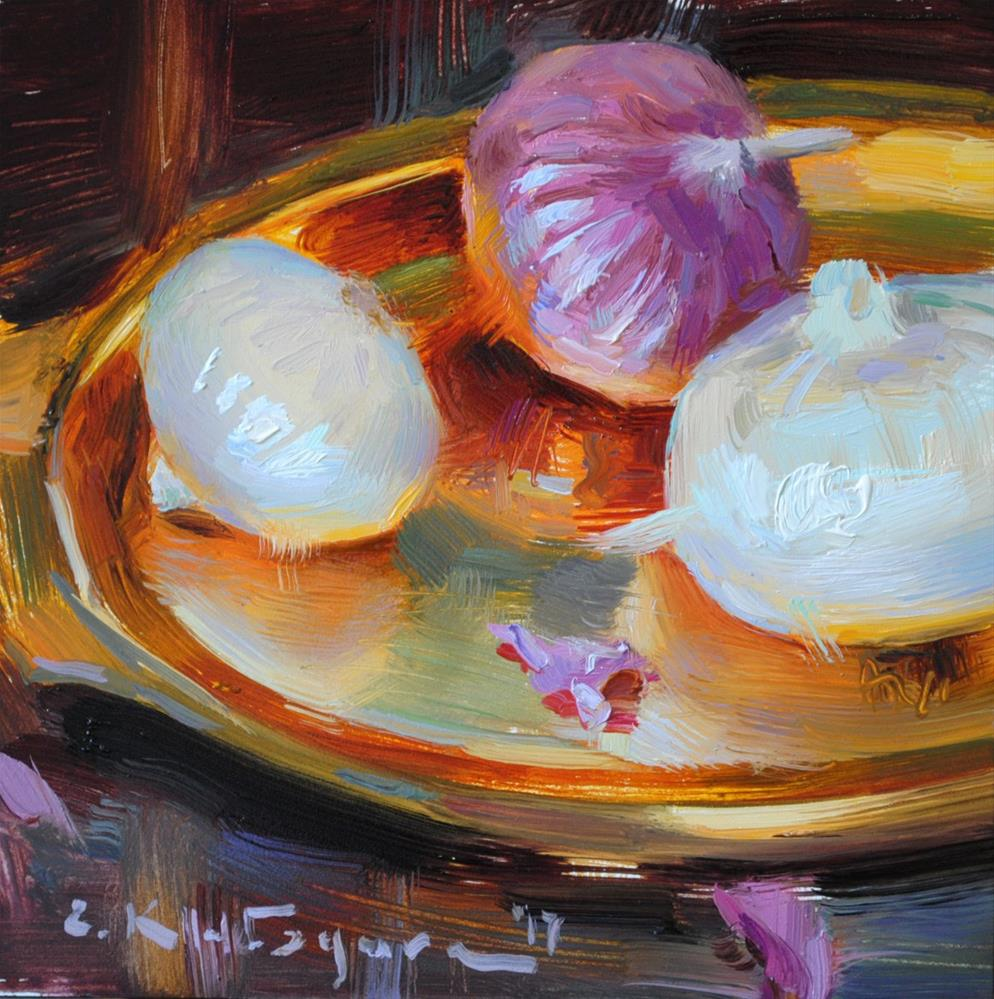 """Onions on Copper"" original fine art by Elena Katsyura"