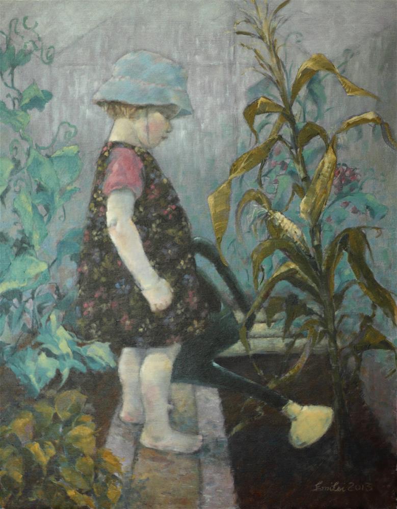"""""""In the Greenhouse"""" original fine art by Emilia Leinonen"""