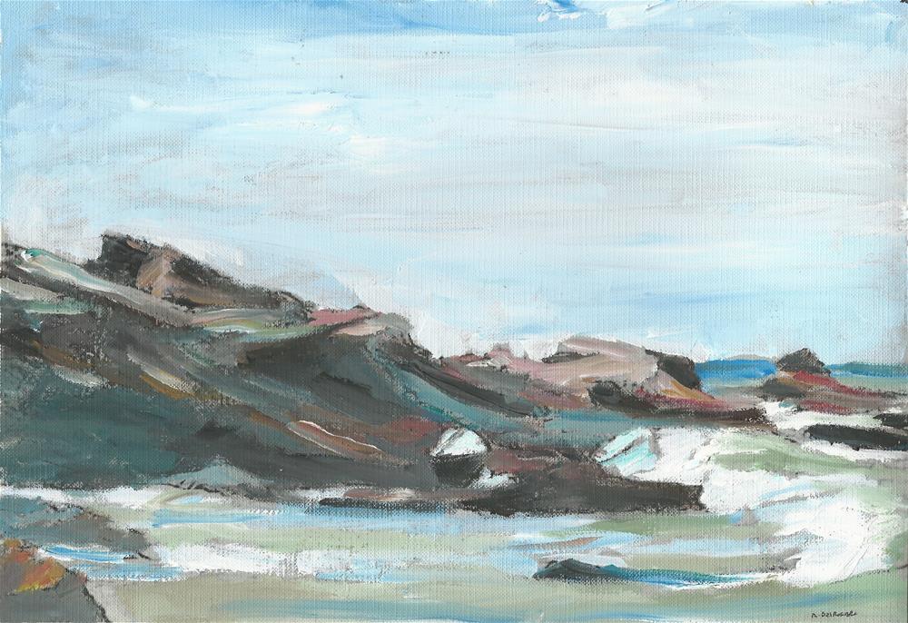 """The Sea (9 x 12 oil on canvas sheet - no frame)"" original fine art by Ramon DelRosario"