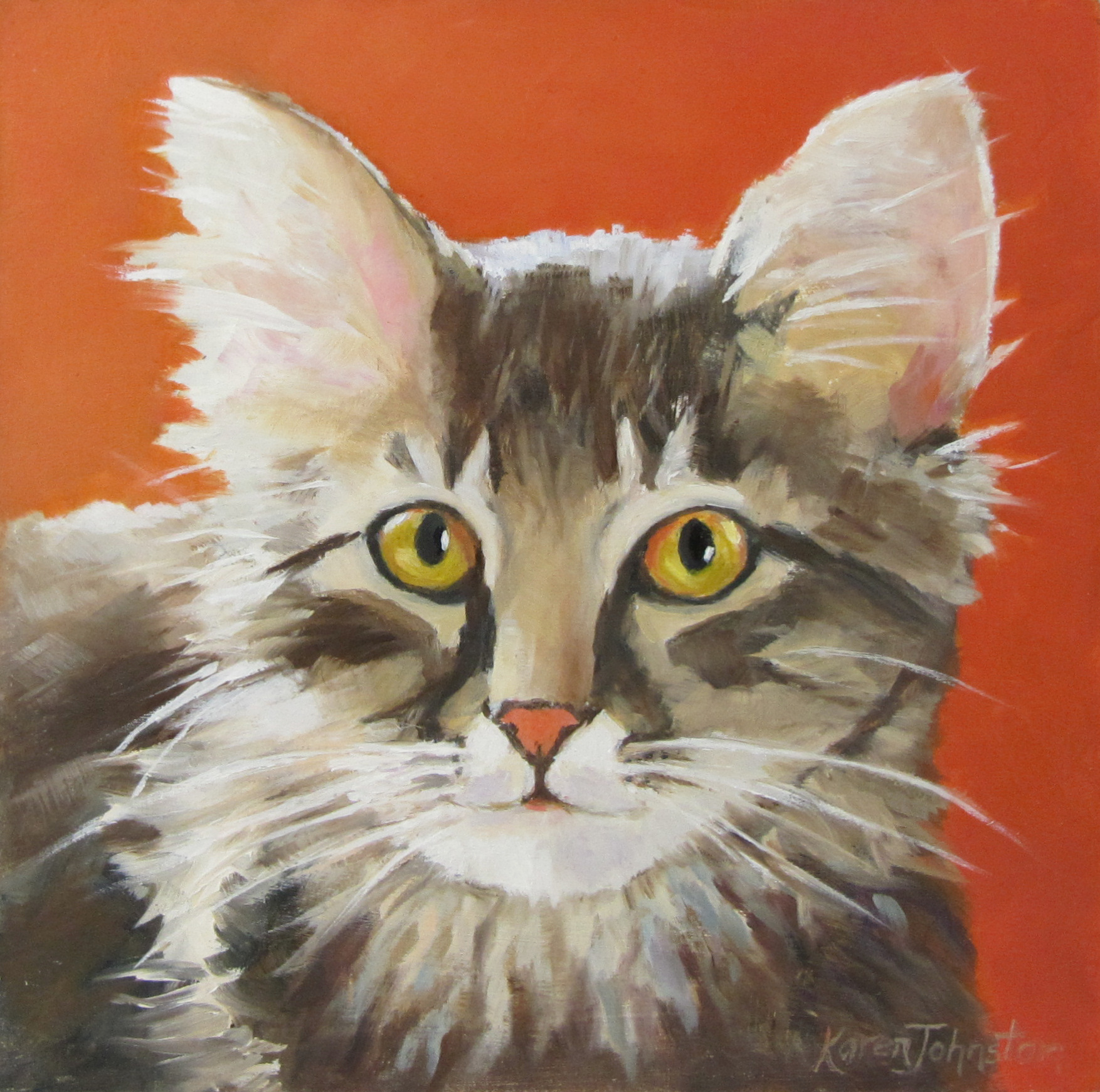 """Miss Kitty"" original fine art by Karen Johnston"
