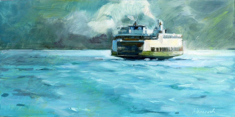 """Blue Water Smoke and Ferry"" original fine art by Gretchen Hancock"