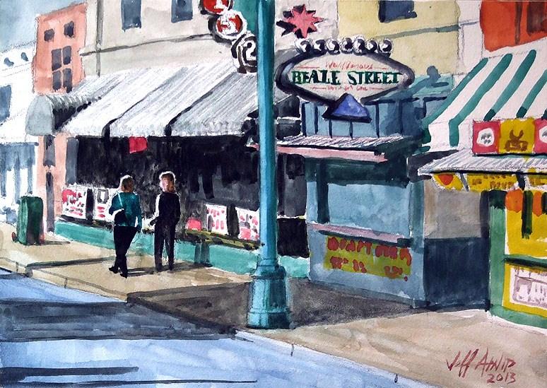 """Urban Landscape Beale Street"" original fine art by Jeff Atnip"