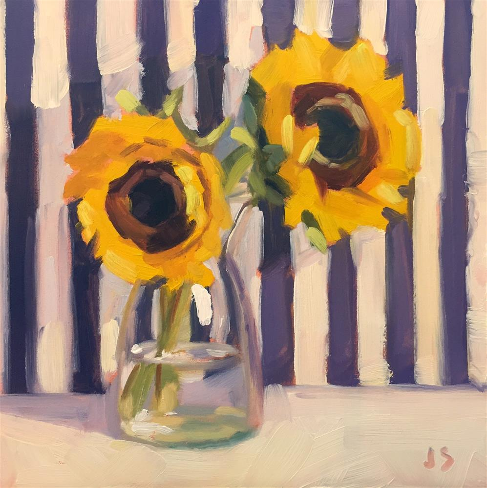 """Sunflowers and Stripes"" original fine art by Jamie Stevens"