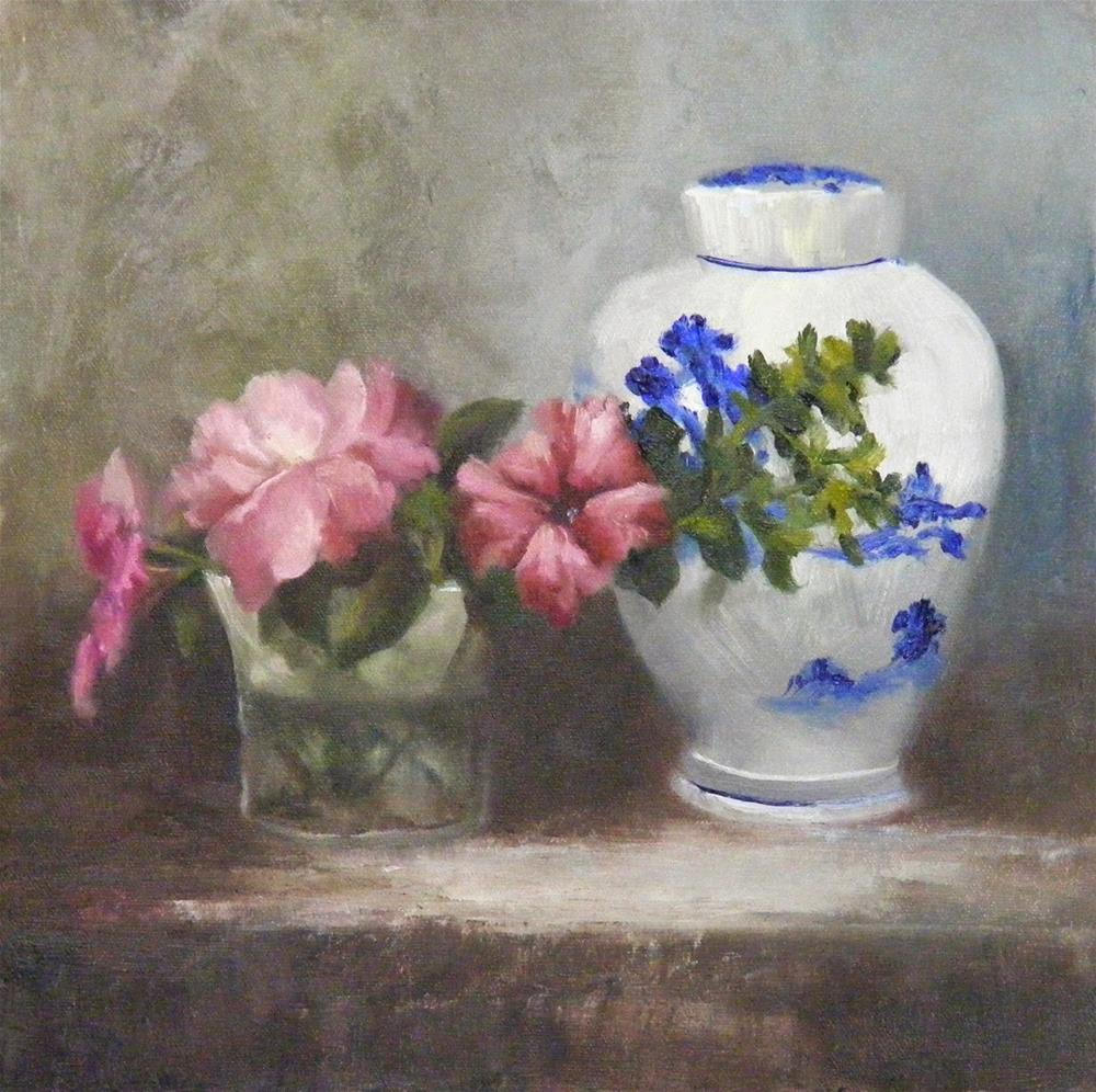 """Flowers & Ginger Jar, Original Oil Painting"" original fine art by Diana Delander"