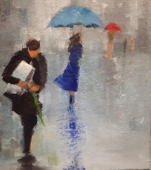 """Rainy Day Blue Umbrella"" original fine art by Peggy Schumm"