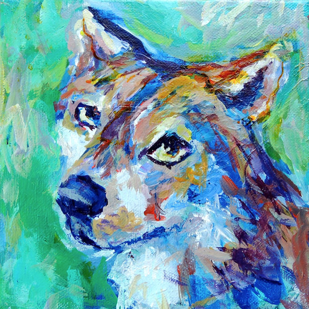 """Foxy Hound"" original fine art by Mary Schiros"