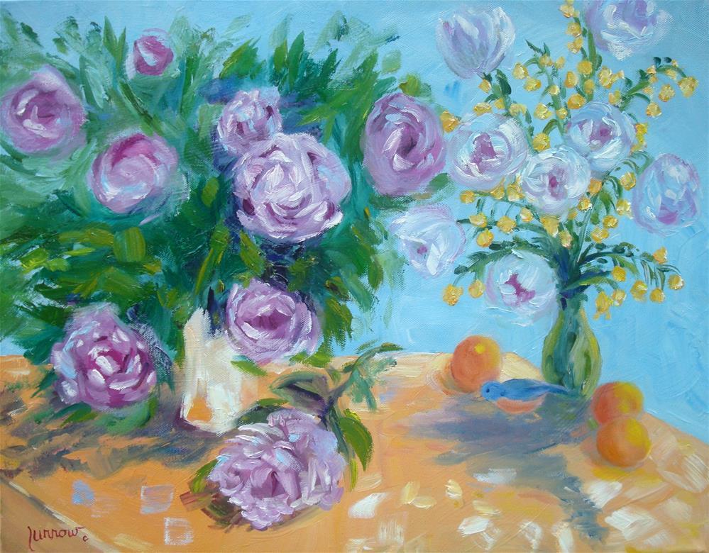 """Peonies with Bluebird was painted alla prima and en plein air."" original fine art by Sue Furrow"