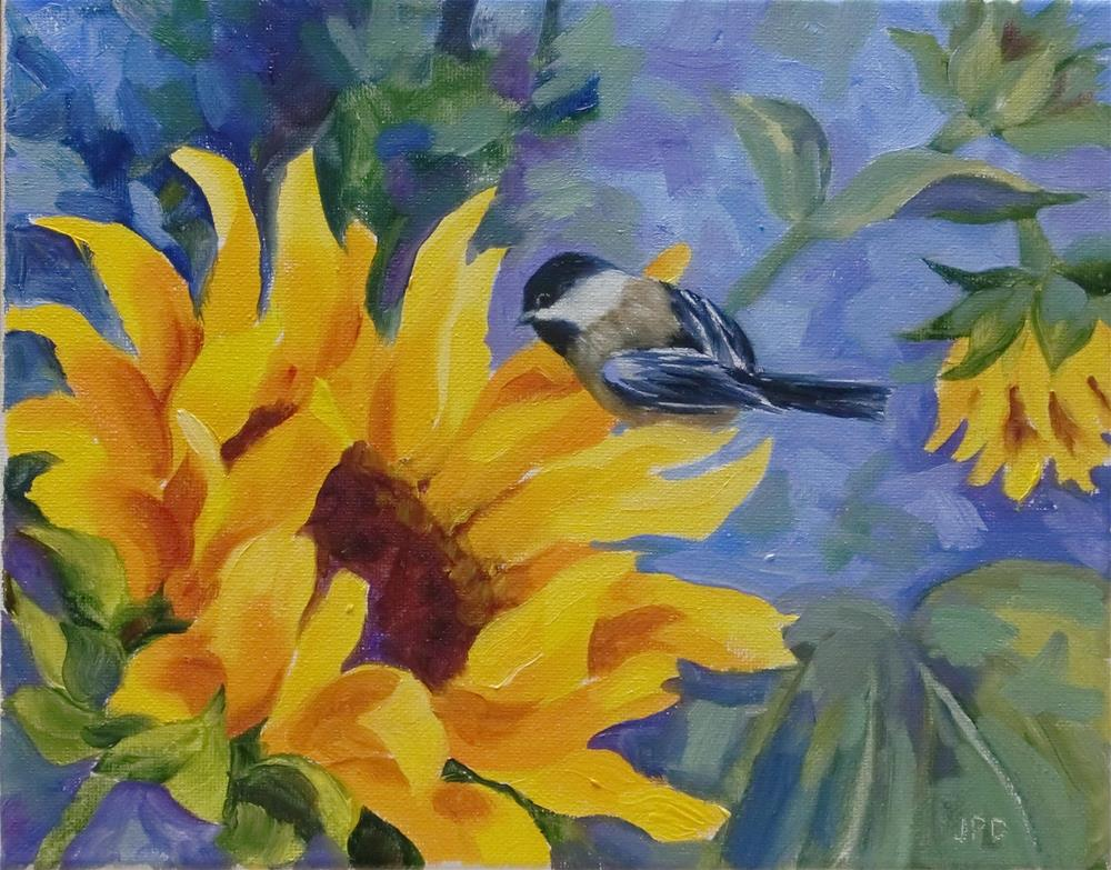 """Chickadee Eyeing His Dinner"" original fine art by Jean Pierre DeBernay"