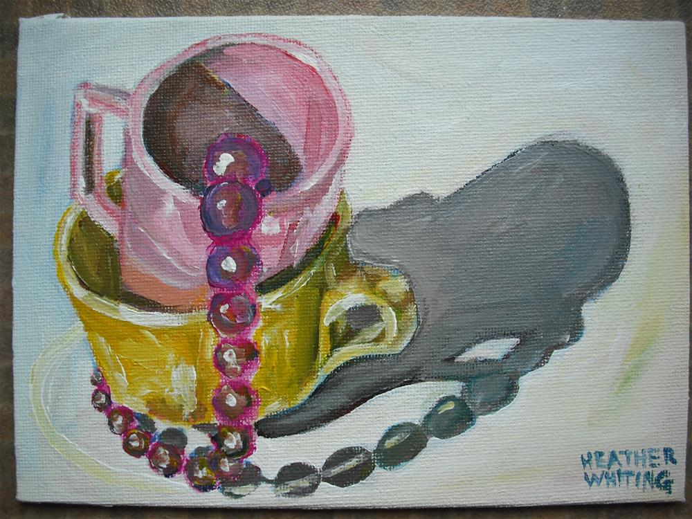 """""""Pink Mug, Yellow Cup"""" original fine art by Heather Whiting"""