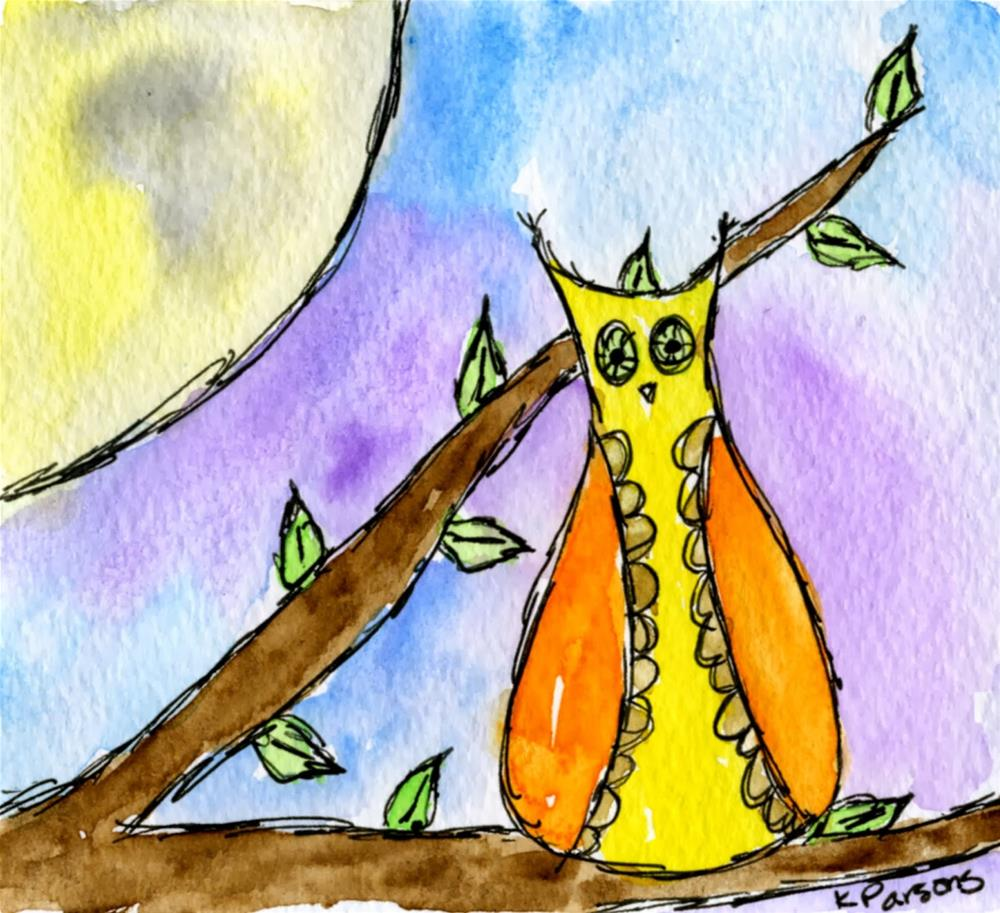 """Hoot at the Moon"" original fine art by Kali Parsons"