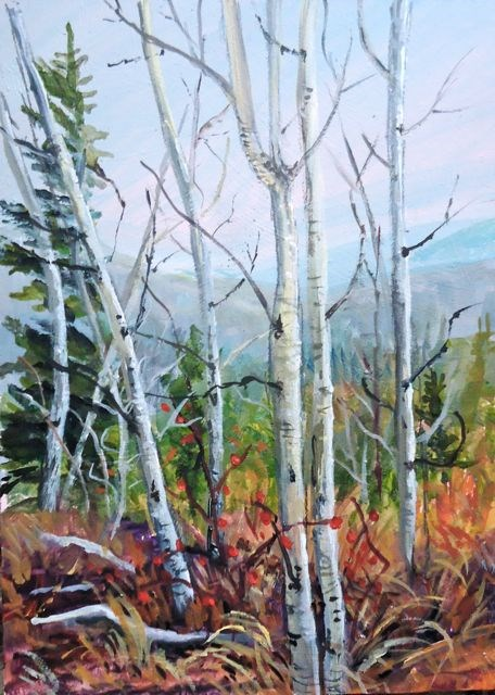 """Aspens and Rosehips"" original fine art by Jackie Irvine"