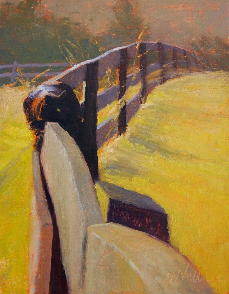 """""""#39 Flip  on a fence"""" original fine art by Nancy Wallace"""