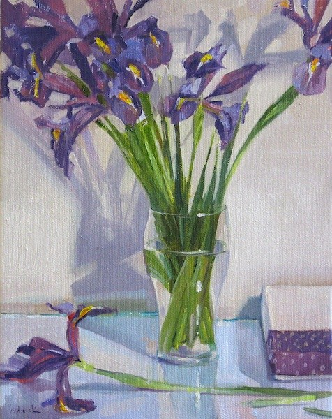 """Iris Bouquet in a Pint Glass floral flower art oil painting purple still life $100 ebay auction"" original fine art by Sarah Sedwick"