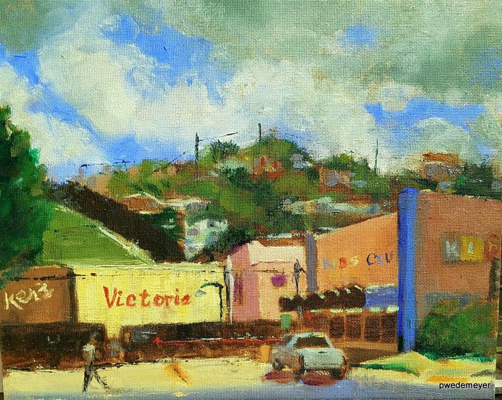 """The Crossings at Morley and Park Av, Nogales Border, AZ"" original fine art by Pamela Wedemeyer"