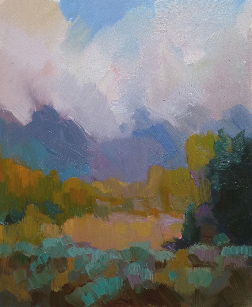 """Mountain Meadow, 12 x 10 In, Oil on Museum Board"" original fine art by Kathryn Townsend"