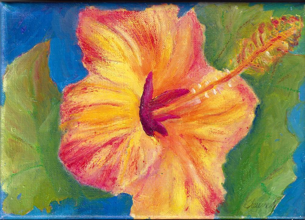 """Golden glow hibiscus"" original fine art by Elizabeth Current"