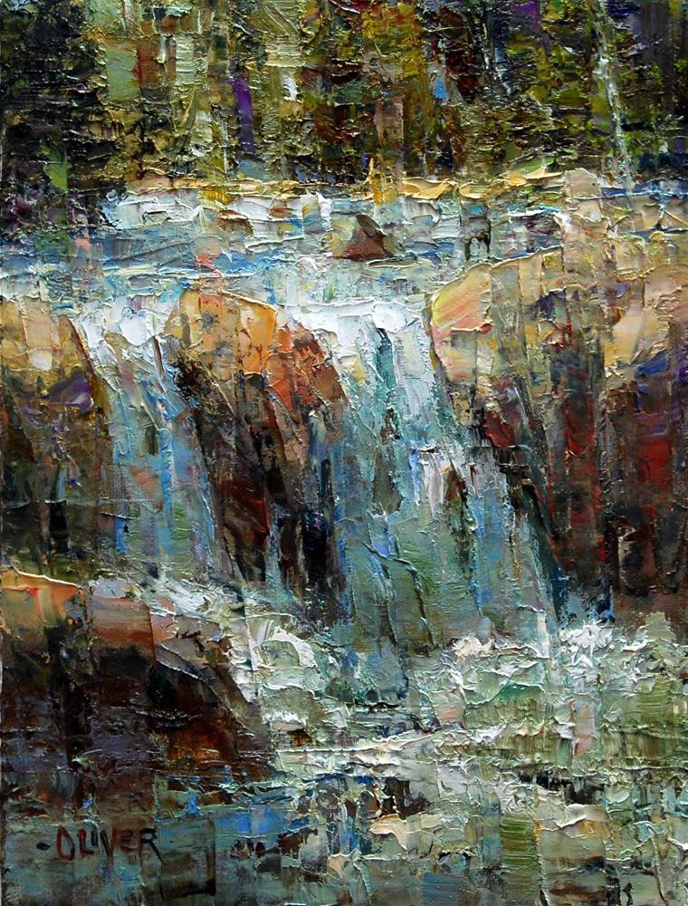 A Waterfall Somewhere in Yellowstone. original fine art by Julie Ford Oliver