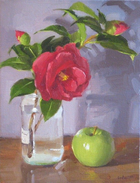"""Camellia and Green Apple still life oil painting red flowers floral fruit"" original fine art by Sarah Sedwick"