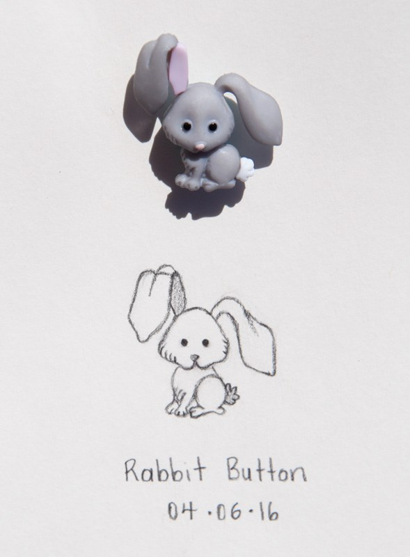 """Daily Sketch: Rabbit Button"" original fine art by Debbie Lamey-Macdonald"