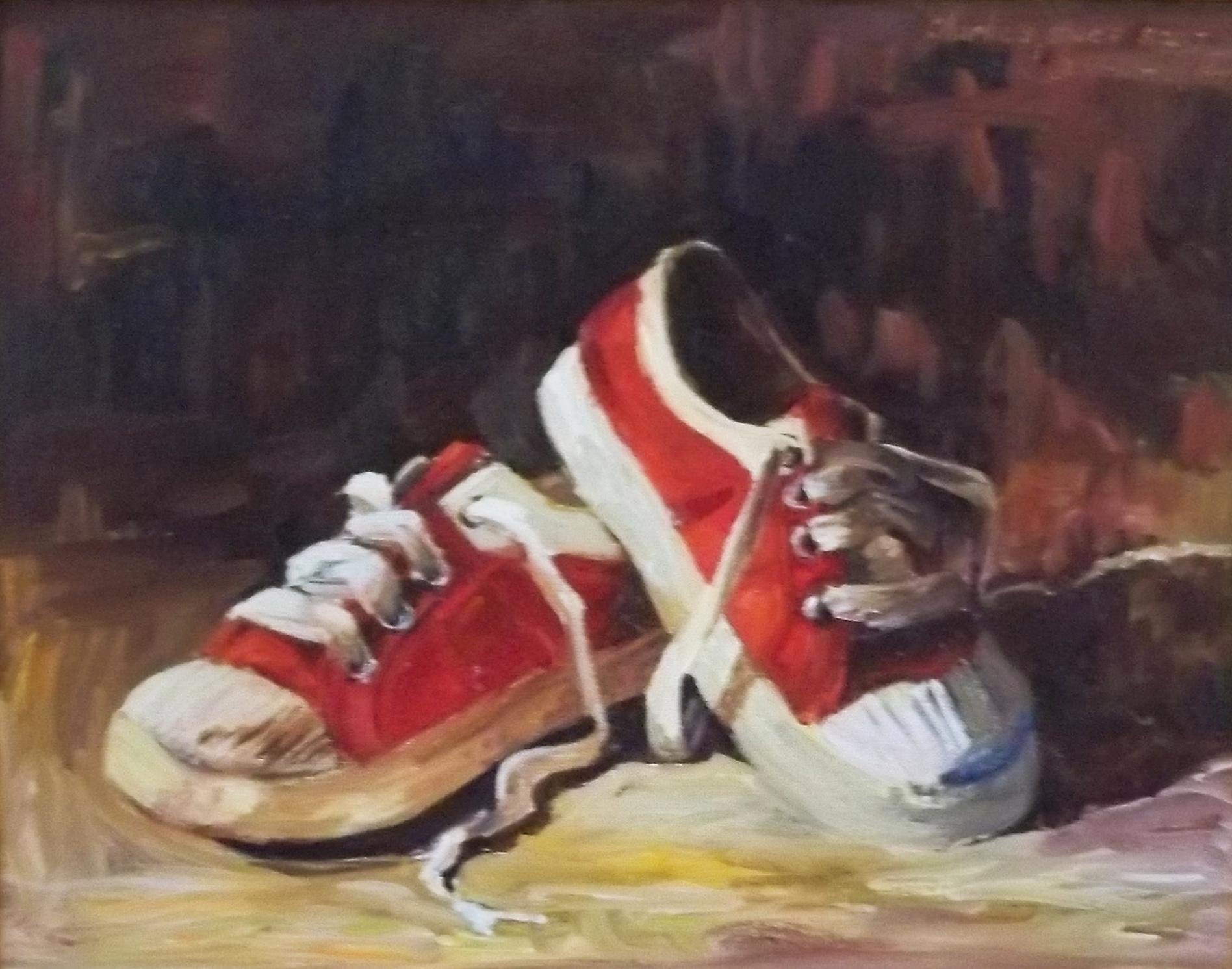"""Charlies Shoes"" original fine art by Deborah Newman"