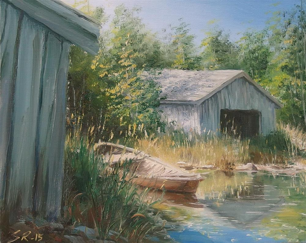 """Behind the boathouse"" original fine art by Stig Rosenlund"