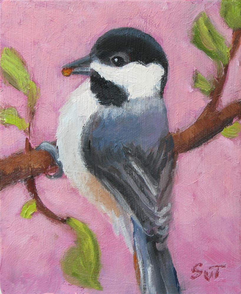 """chickadee"" original fine art by Sue van Tonningen"