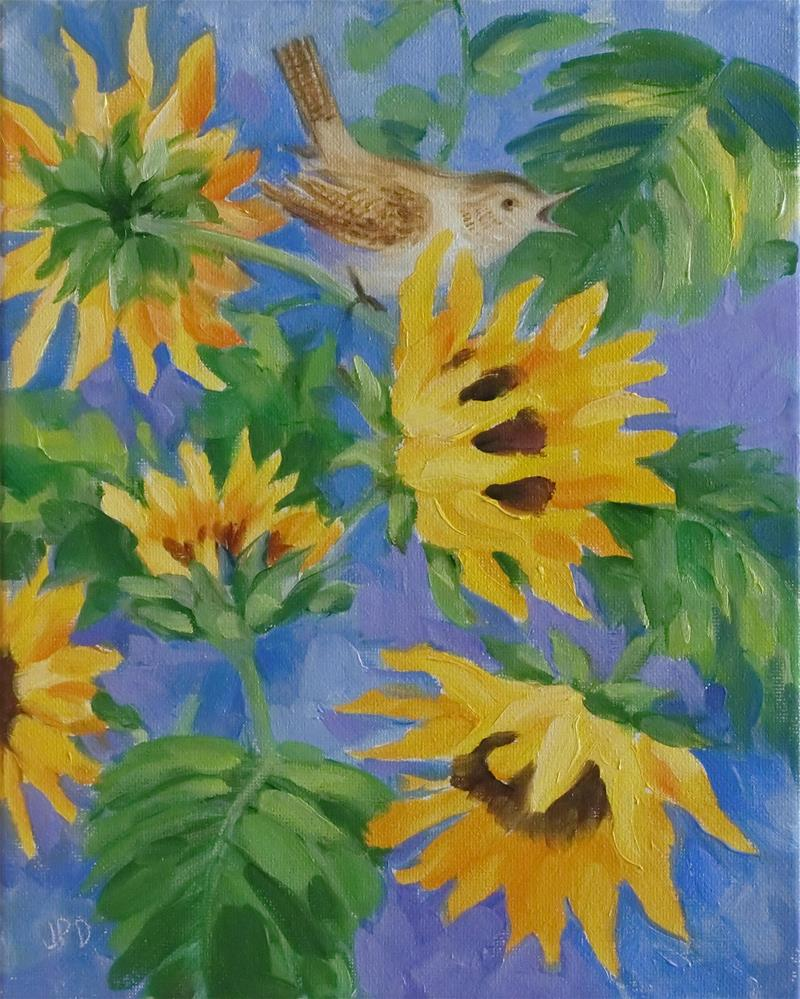 """Winter Wren visiting sunflowers"" original fine art by Jean Pierre DeBernay"