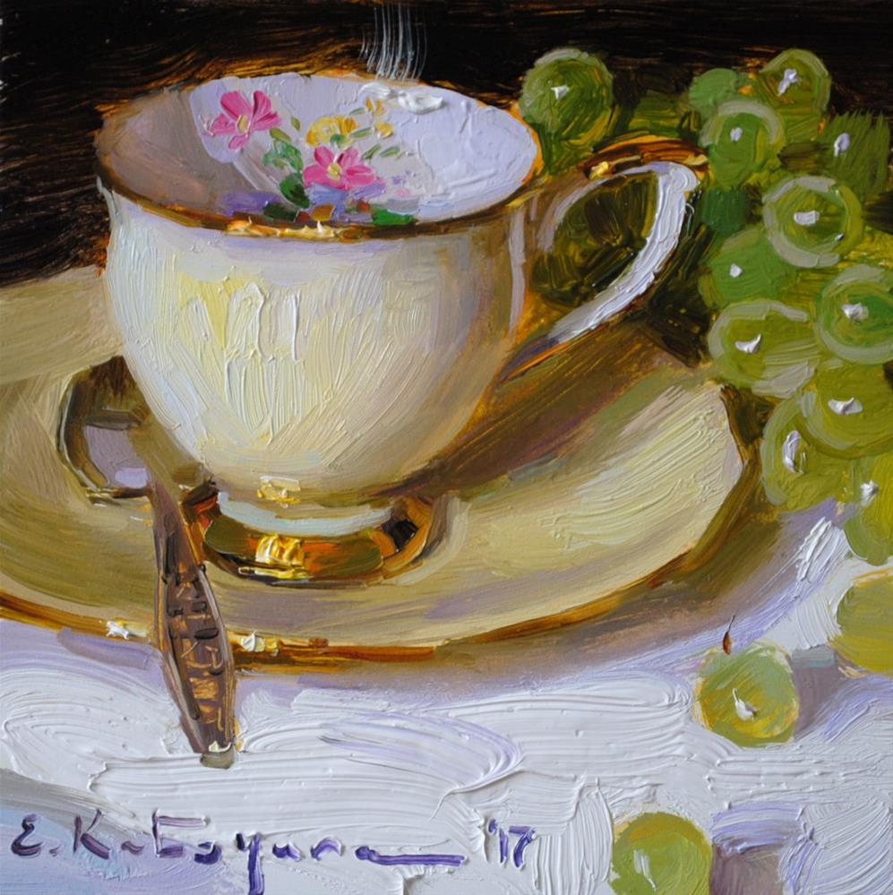 """Queen Anne Teacup and Grapes"" original fine art by Elena Katsyura"