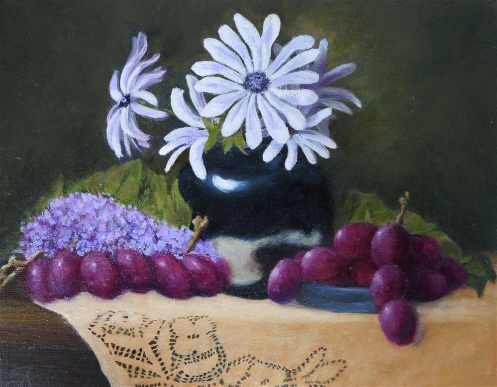 """Daisies and Grapes"" original fine art by Elizabeth Elgin"