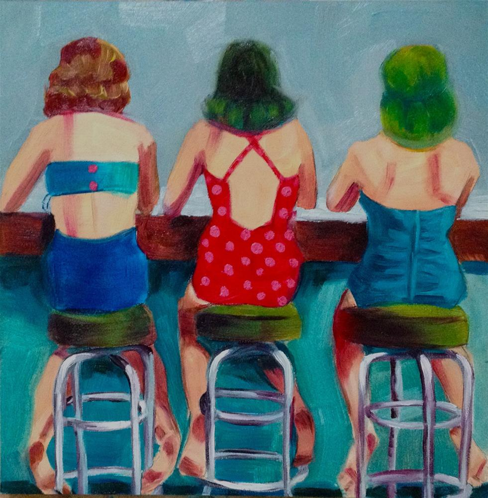 """Belles on Benches (after Nina Leen)"" original fine art by Bev Thibault"
