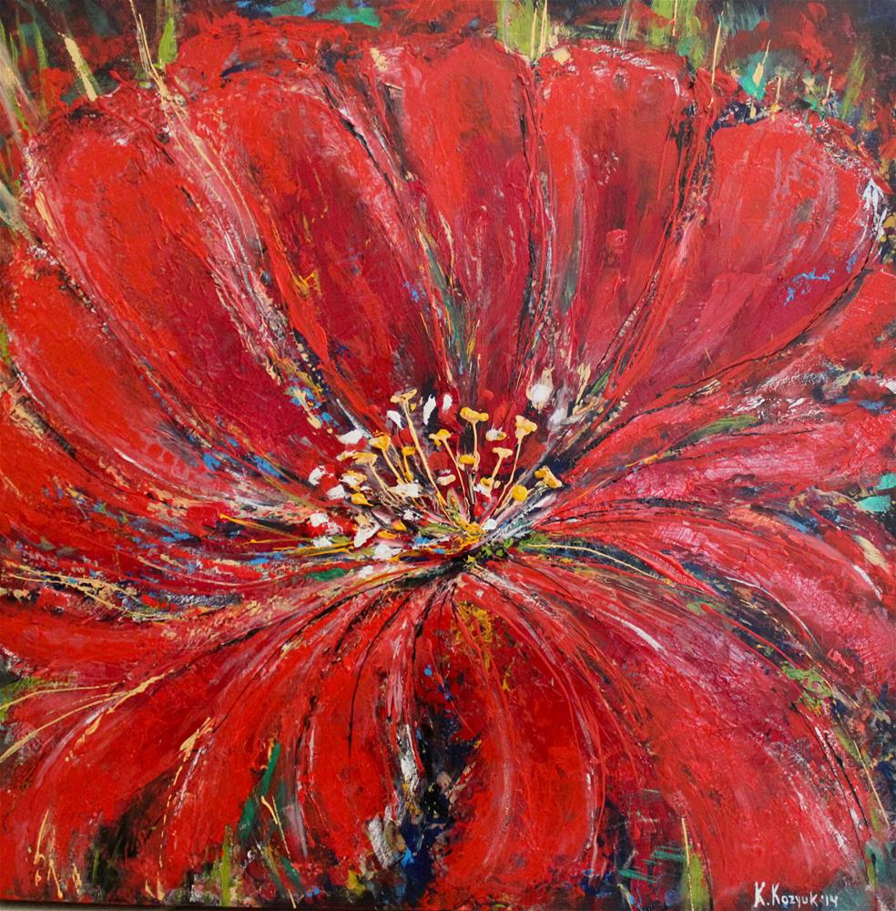 """Red Poppy"" original fine art by Khrystyna Kozyuk"