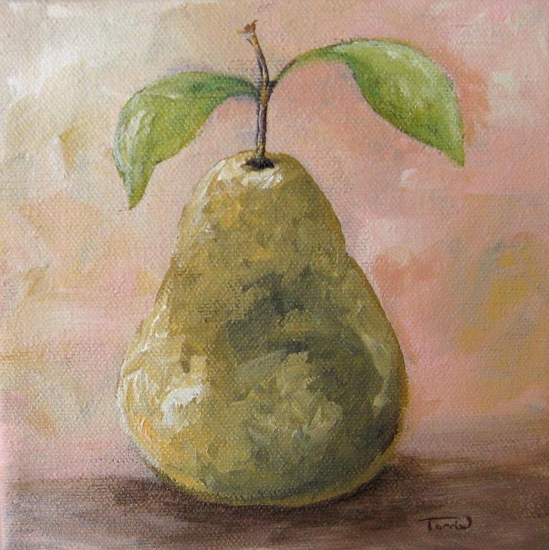 """Pear on Peach"" original fine art by Torrie Smiley"