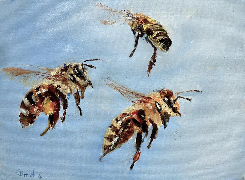 """Bees No3"" original fine art by Claudia Brandt"