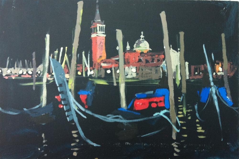 """""""San Giorgio Maggiore at night"""" original fine art by Haidee-Jo Summers"""