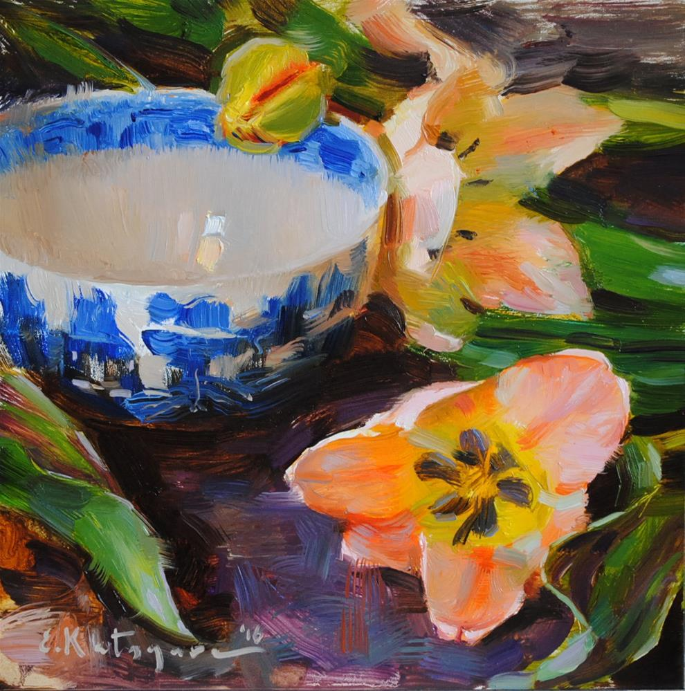 """Blue Bowl and Tulips"" original fine art by Elena Katsyura"
