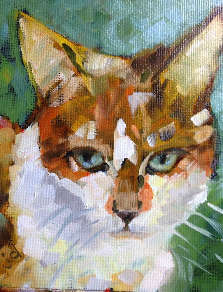 """Peaches the big orange tabby"" original fine art by Jean Delaney"
