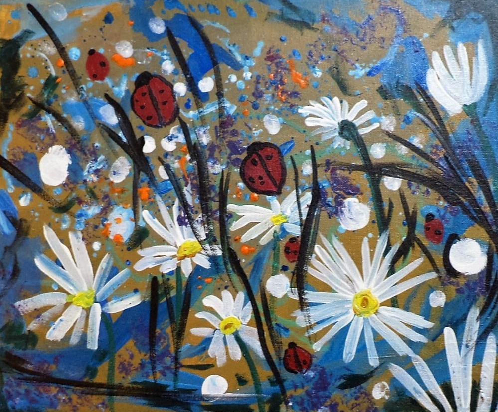 """daisies and ladybugs"" original fine art by tara stephanos"