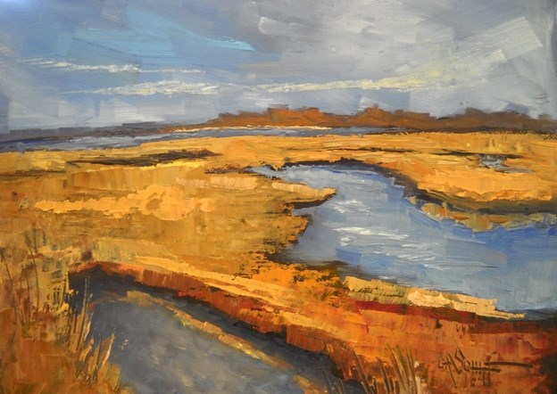 """Marsh Painting, Daily Painting, Golden Marsh by Carol Schiff. 6x8 Oil"" original fine art by Carol Schiff"