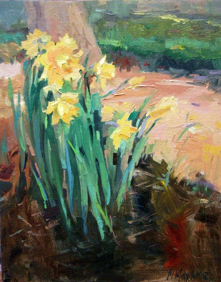 """ButterYellow - First Daffodils of Spring"" original fine art by Mary Maxam"